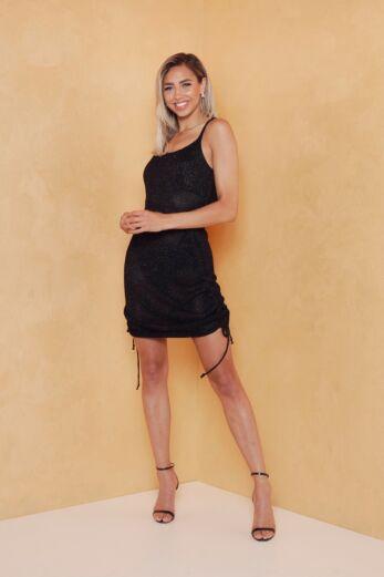 Eve Malibu Ruched Dress Black Front