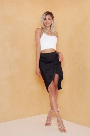 Samara Satin Skirt Black