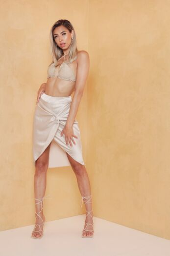 Eve Samara Satin Skirt Champagne Front Pose