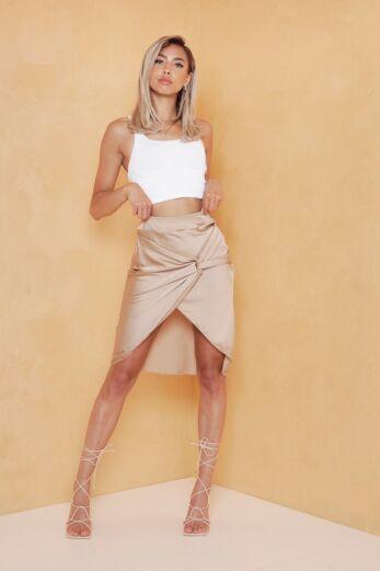 Eve Samara Satin Skirt Cognac Front