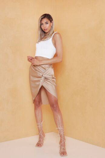 Samara Satin Skirt Cognac
