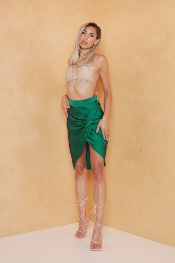 Samara Satin Skirt Emerald Green