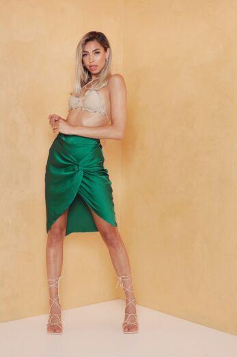 Eve Samara Satin Skirt Emerald Green Front Pose