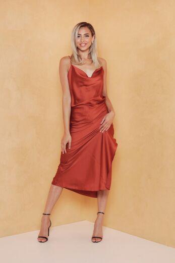 Eve Mermaid Silk Dress Rust Front