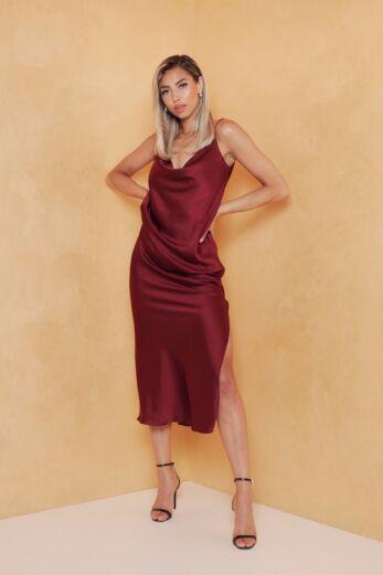 Eva Mermaid Silk Dress Bordeaux Front
