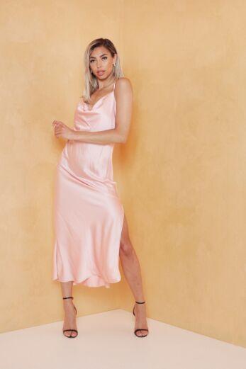 Eva Mermaid Silk Dress Blush Front