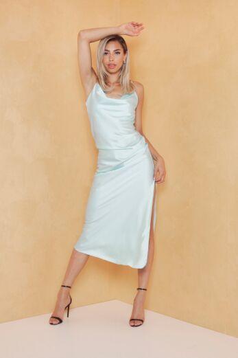 Eva Mermaid Silk Dress Ice Blue Front