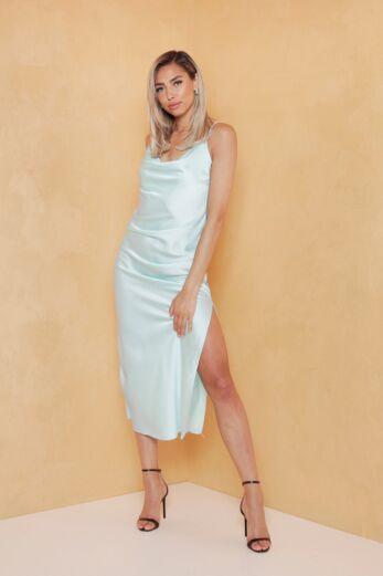 Mermaid Silk Dress Ice Blue