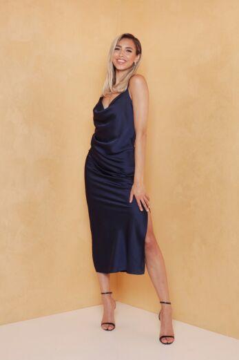 Eva Mermaid Silk Dress Midnight Blue Front