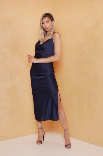 Mermaid Silk Dress Midnight Blue