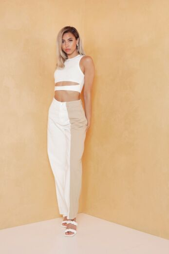 Jaded Two Color Jeans White/Nude
