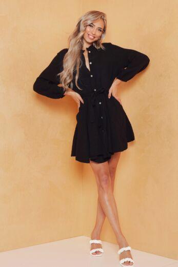 Eve Cross My Mind Linnen Dress Black