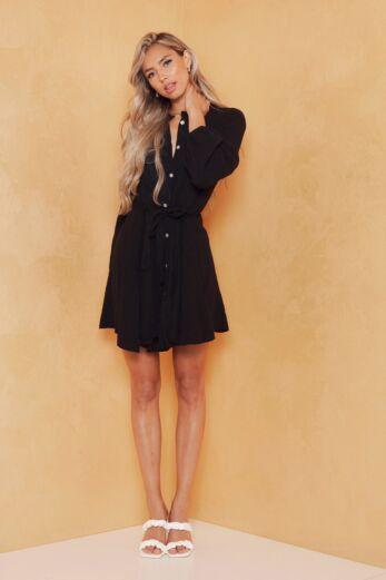 Cross My Mind Linnen Dress Black