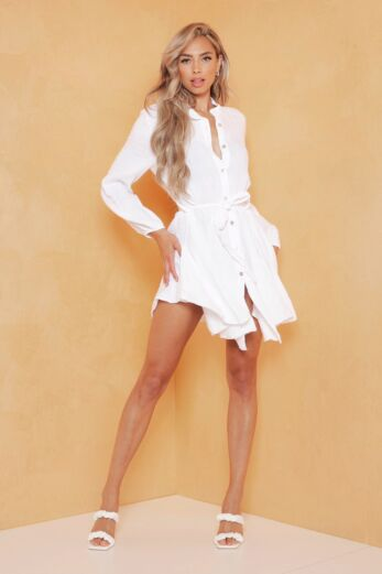 Cross My Mind Linnen Dress White