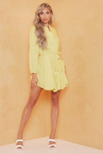 Eve Cross My Mind Linnen Dress Yellow