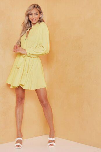 Cross My Mind Linnen Dress Yellow