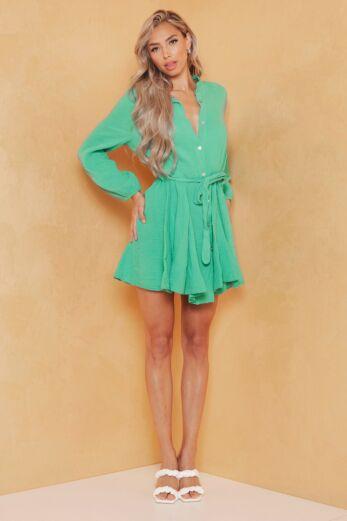 Cross My Mind Linnen Dress Green