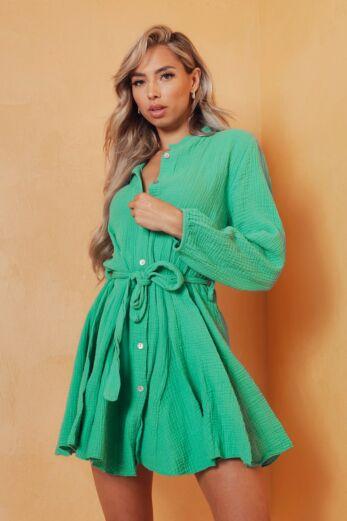 Eve Cross My Mind Linnen Dress Green Close