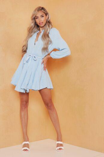 Eve Cross My Mind Linnen Dress Blue