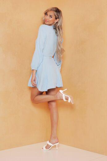 Cross My Mind Linnen Dress Blue