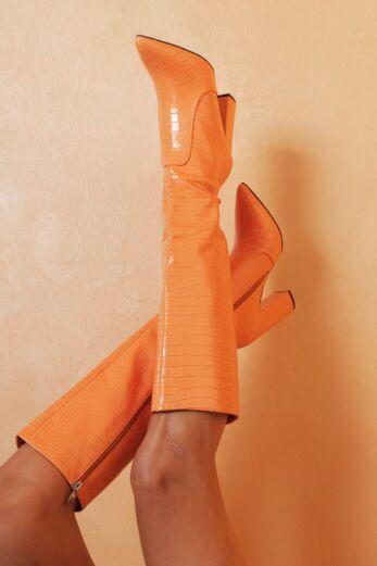 Walk Off Faux Leather Snake Boots Orange