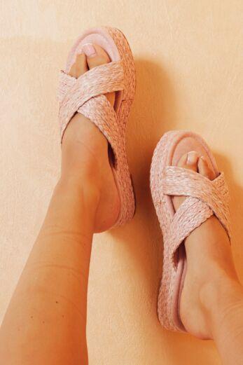 Eve Everlasting Crossed Sandals Pink Close 1