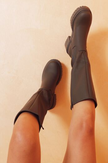 Eve Get It On Faux Leather Boots Olive Close 1