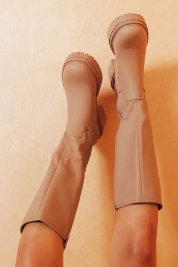 Eve Get It On Faux Leather Boots Nude Close 1