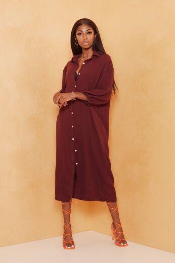 Sweetness Linnen Dress Long Bordeaux