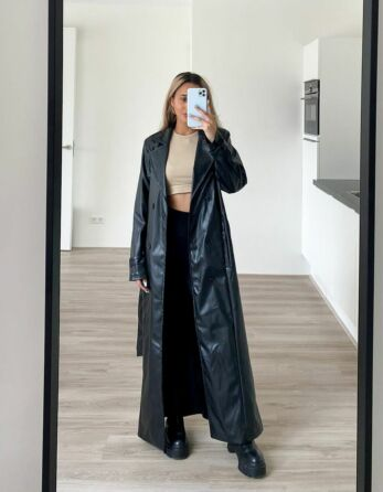 Eve Empower Faux Leather Coat Black Front