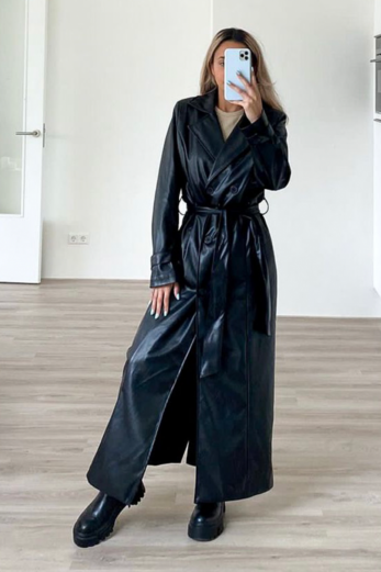 Empower Faux Leather Coat Black