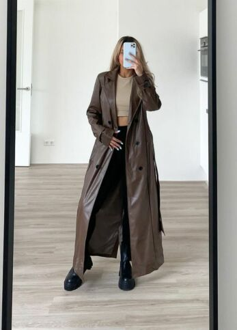 Empower Faux Leather Coat Chocolate