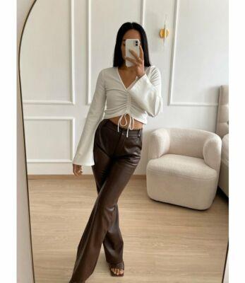 Eve Nala Leather Flare Pants Chocolate Front