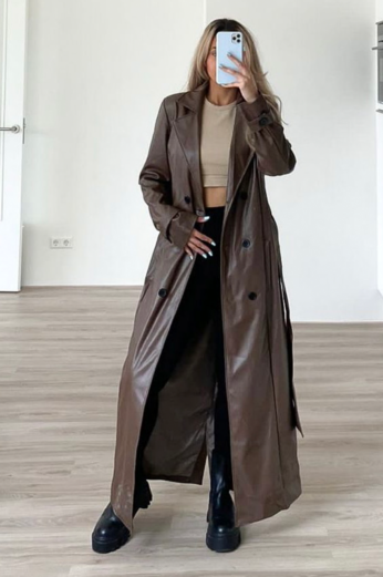 Eve Empower Faux Leather Coat Chocolate Front