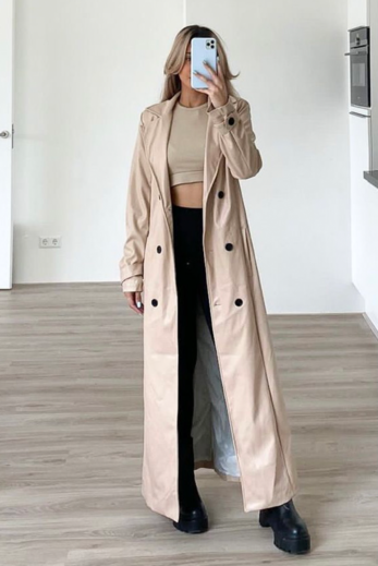 Eve Nala Leather Flare Pants Nude Front