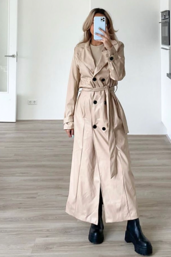 Empower Faux Leather Coat Nude