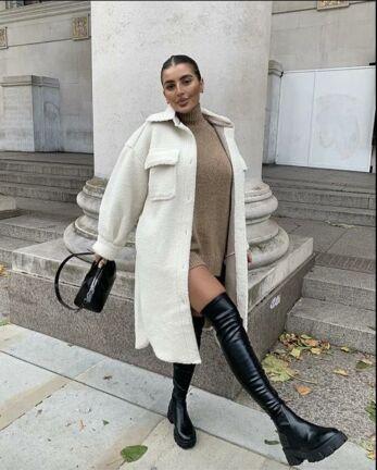 Leather Overknee Boots Black