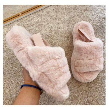 Eve Fluffy Slides Pink