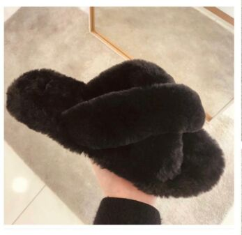 Fluffy Cross Over Slides Black