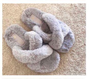 Fluffy Cross Over Slides Grey