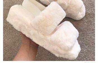 Fluffy  Strap Slides Creme