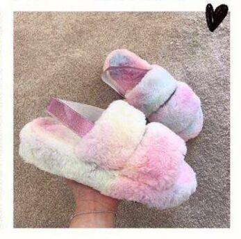 Eve Fluffy  Strap Slides Rainbow