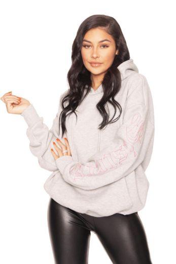 LA Sisters Oversized Pocket Hoodie Grey Front