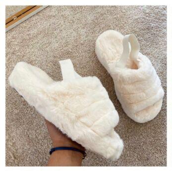 Eve Fluffy Slides Creme