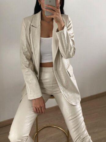Milana Croco Leather Blazer Creme