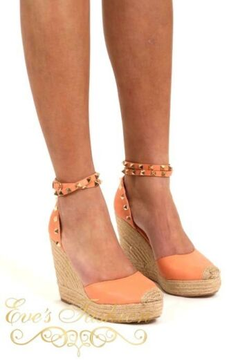 Valentina Wedges Coral Front