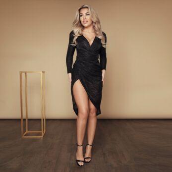 Angelica Mesh Tiger Dress Black