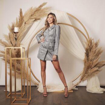 Charlie Belted Glitter Blazer Dress Silver