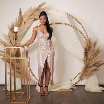 Mila Strap Sequin Dress Rose