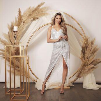Mila Strap Sequin Dress Silver